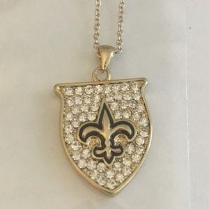 Fleur-de-Lis Shield Pendant Necklace - Gold/Bling